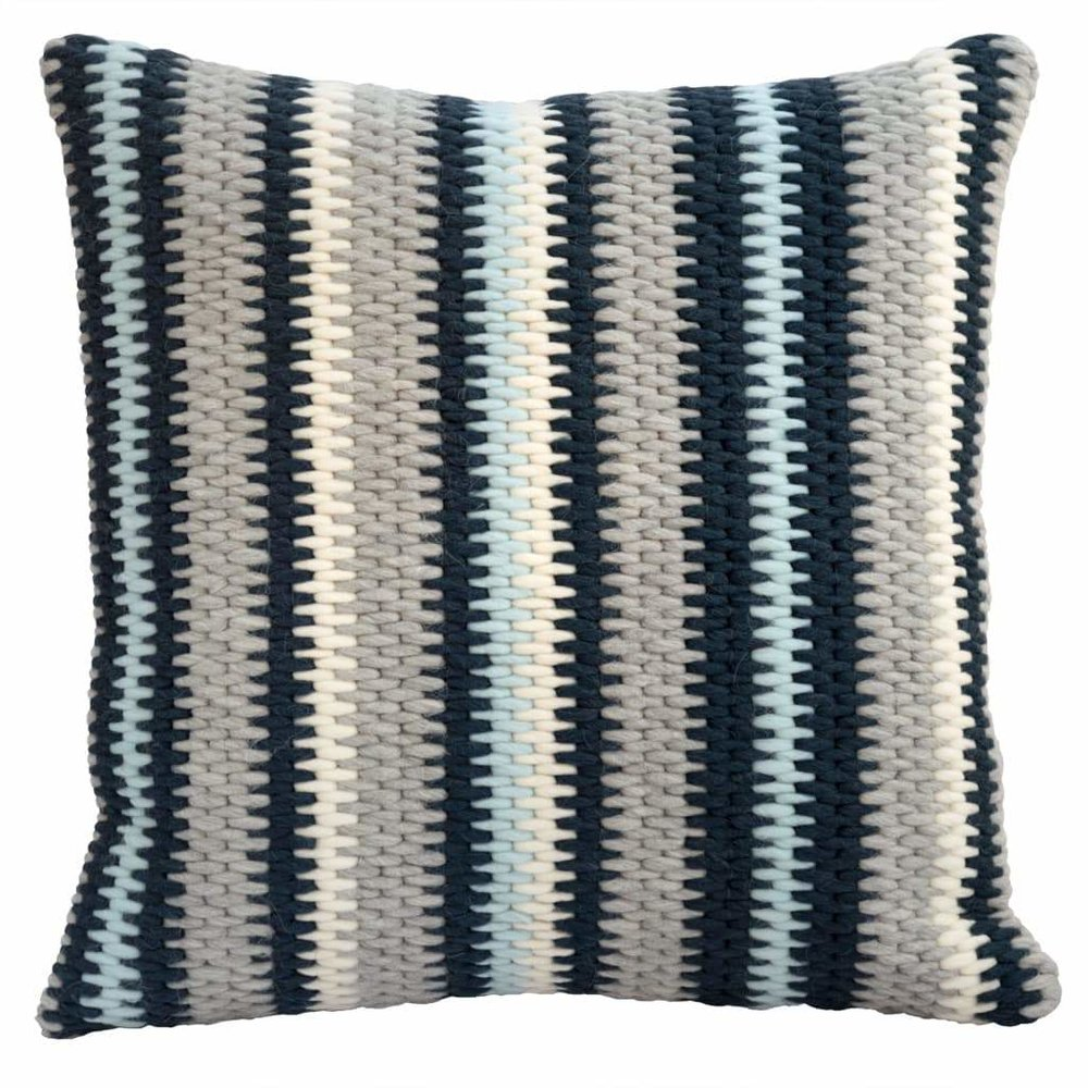 Textured Pillow Navy Blue Stripe
