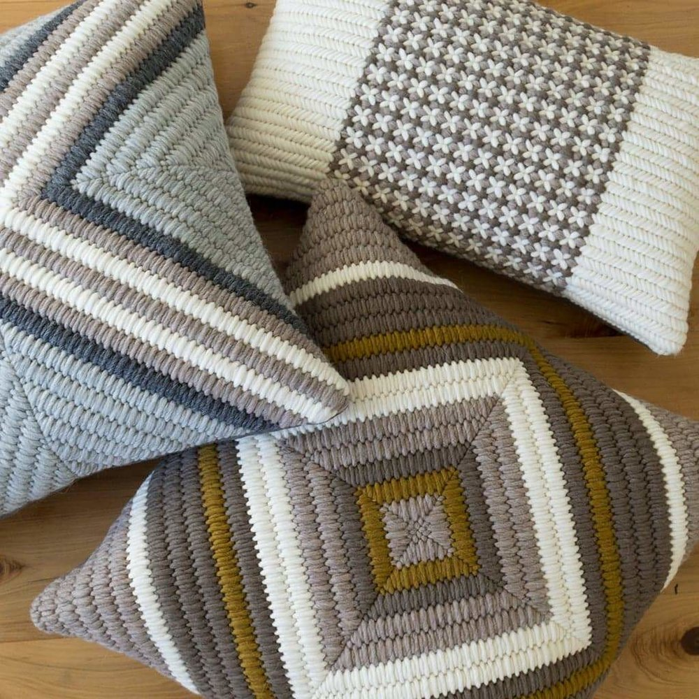 Textured Pillows - Gray Cross, Soft Brown Trellis, Ochre Diamond