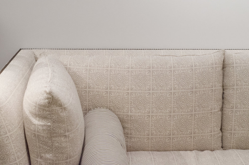 ALEX CONROY SOFA IN IRISH TILE AND SMALL STRIPE BOLSTER