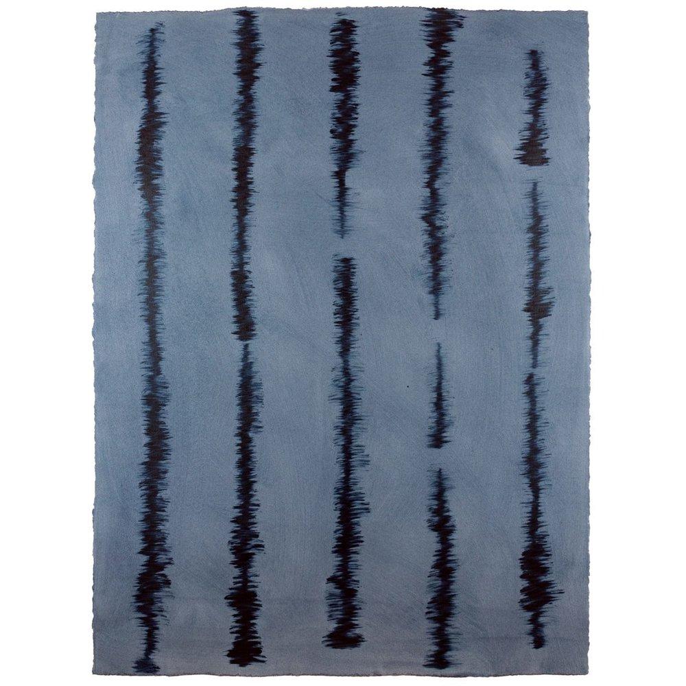 Good Vibrations - Indigo/Indigo - Hand-Painted Sheet Wallpaper