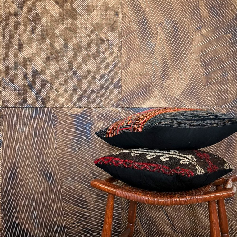 Lanai - Tobacco - Hand-Painted Sheet Wallpaper