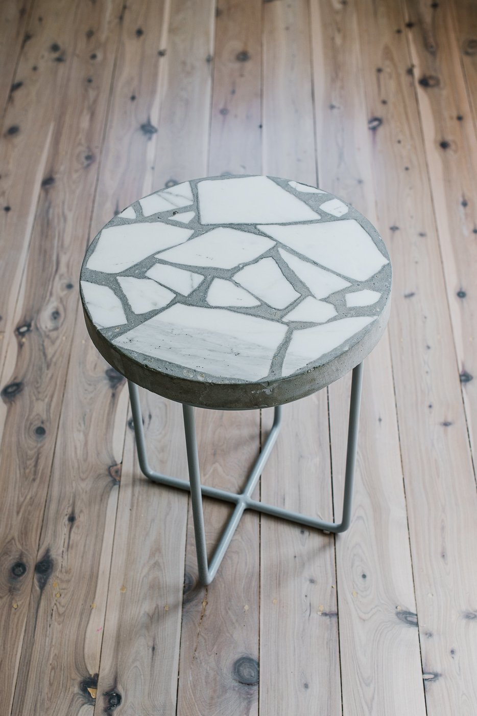 Alpha 01 Terrazzo Side Table Grey Legs