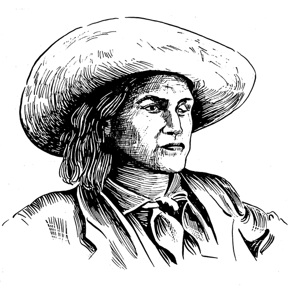 Rendering of Charlie Parkhurst. No photographic evidence exists of the cowboy.