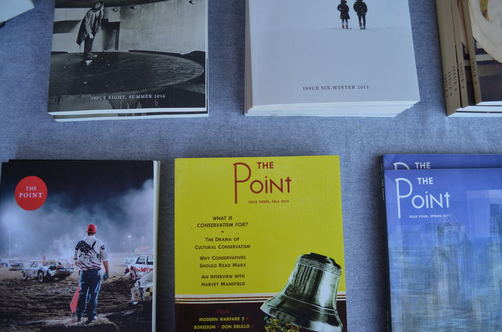 Copies of The Point at Pitchfork Music Festival's book fort. Photography by Megan Stringer.