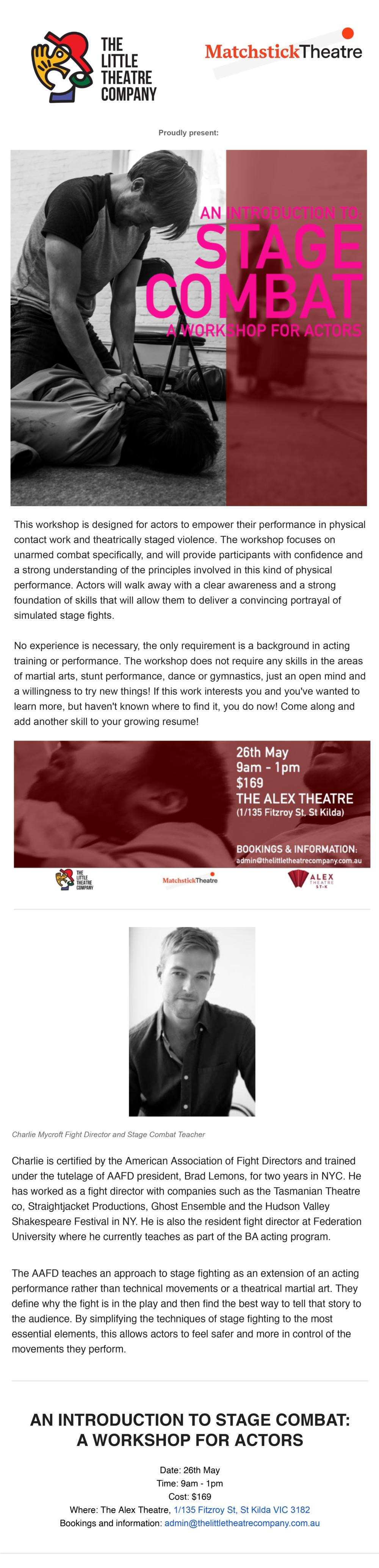 Stage combat workshop melbourne