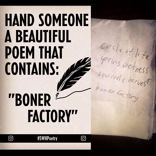 I'd say that this poem meets the requirements. #SWHPoetry #bonerfactory #swhgame #seewhathappens #bachelor #bachelorette #bacheloretteweekend #bacheloretteparty #bachelorparty #dirtypoetry #poetry #poetrycommunity #poetryofinstagram #poetryslam #poetryporn #poetrygram #poetryaddict #poetryofig #poetrychallenge #poetryclub
