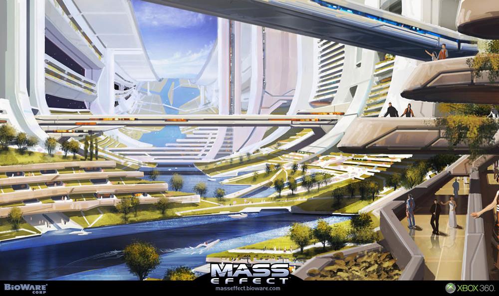 Arte Conceito da Cidadel, cidade artificial encontrada no meio da galáxia, sede do Conselho das Raças.
