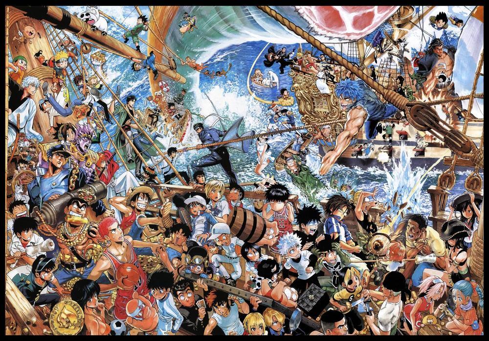 Imagem desenhada por Yusuke Murata para o aniversário de 40 anos da revista Shonen Jump!