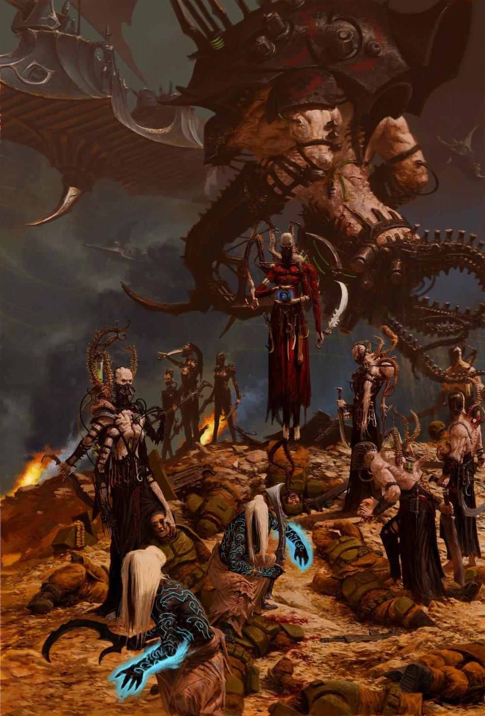 Eldars que são consumidos pelas forças do caos muitas vezes se tornam Dark Eldars, arte por Adrian Smith