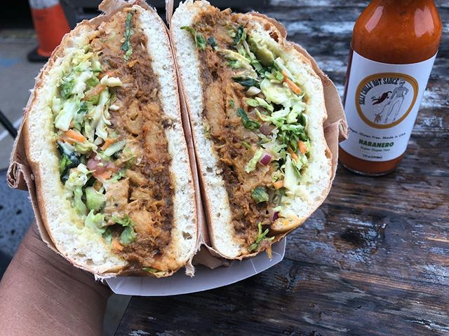 It's raining but life is still good with this Vegan Torta made by Rudy @vegicano & Habanero hotsauce from @sillychillyhotsauce  www.sillychillyhotsauce.com