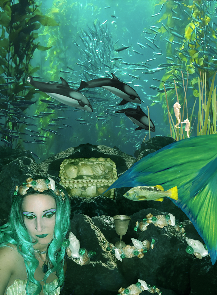 Created with Adobe Photoshop a composite of  twelve images forms the image of a contemplative mermaid. Around her swims the abundant life of the sea.