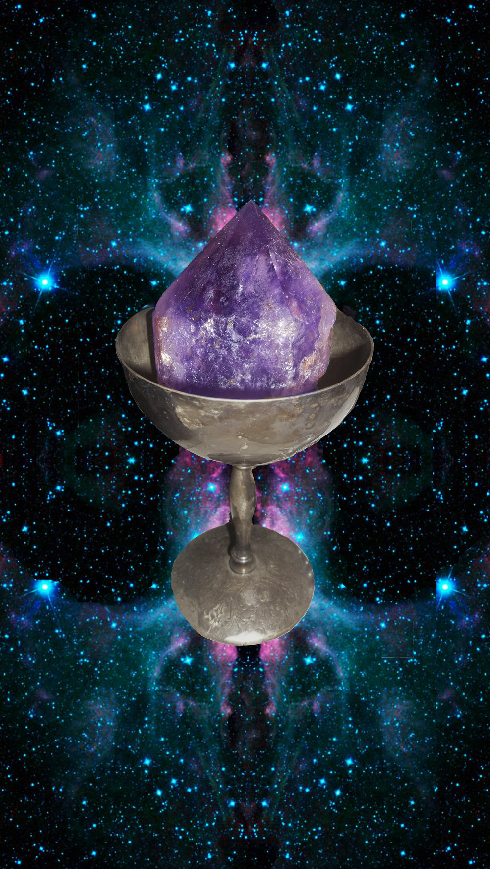 Created with Adobe Photoshop A large image of a  chalice in the vast beauty of space. The cup holds in it an amethyst  from  which the colors of a nebula seems to flow.