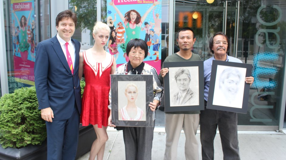 (L to R) Museum of Modern Art board member Lawrence Benenson and America's Next Top Model winner Allison Harvard pose with finalists Susan Rong, Wei Chin, and Anvar Makhkamov Mister ArtSee produces the first Annual Best Street Portrait/Caricature Artist Contest in New York City.
