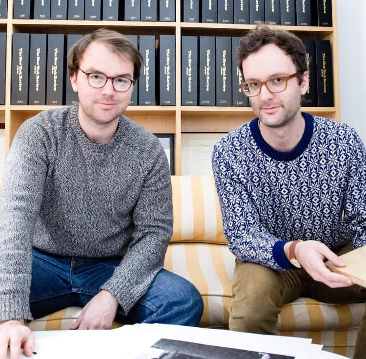 NYR Comics co-editors Lucas Adams, left, Gabriel Winslow-Yost, right, photo by Sameet Sharma