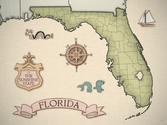 VINTAGE FLORIDA MAP DIGITAL