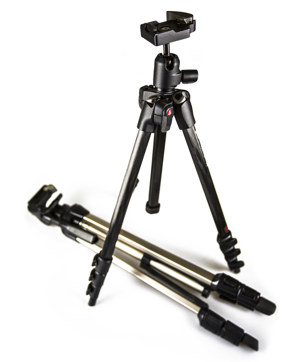 A SOLID TRIPOD: A Manfrotto tripod is a good balance of affordability and excellent build quality. The tripod is made out of carbon fiber and is light and sturdy because of that. A strong tripod helps create sharp images. The tripod laying down in defeat may be affordable, but it's not very useful because of the poor build quality. It'll shake and fail your images when the time comes.