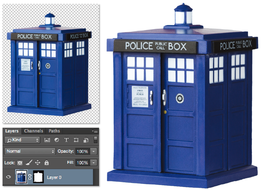 I created the final image in Adobe Photoshop using a mask so only the item is visible. The simple white background created by the paper in the original photo made it easier to select the item for the mask.