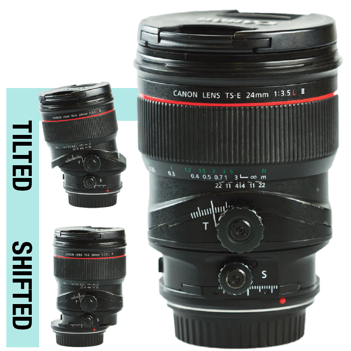 TILT/SHIFT: This lens is unique in that it can physically tilt and shift back and forth. This creates some very unique imaging possibilities and, while it takes some getting used to, the lens is great at changing the perspective of your photography.