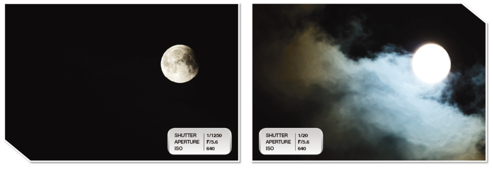 These two images were fused together in Adobe Photoshop to create the image at the top of the post. It required two exposures to both show the texture of the moon and to illuminate the clouds as they passed by.
