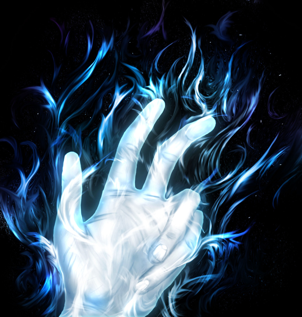 Hand with flames