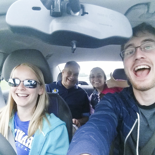 (From left to right) Co-workers and friends, Karin, Lonnie, Miranda, and myself take a road-selfie on our way down to Cedar Point on a much-needed vacation from work.
