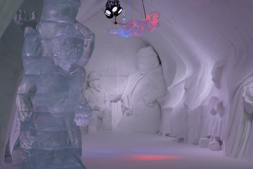 There were lots of cool sculptures made of snow and ice inside the hotel. It was stunning.