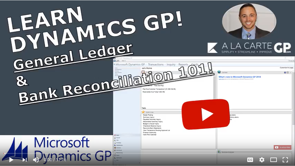 Dynamics GP Training/Tutorial 101 - Youtube Video Series