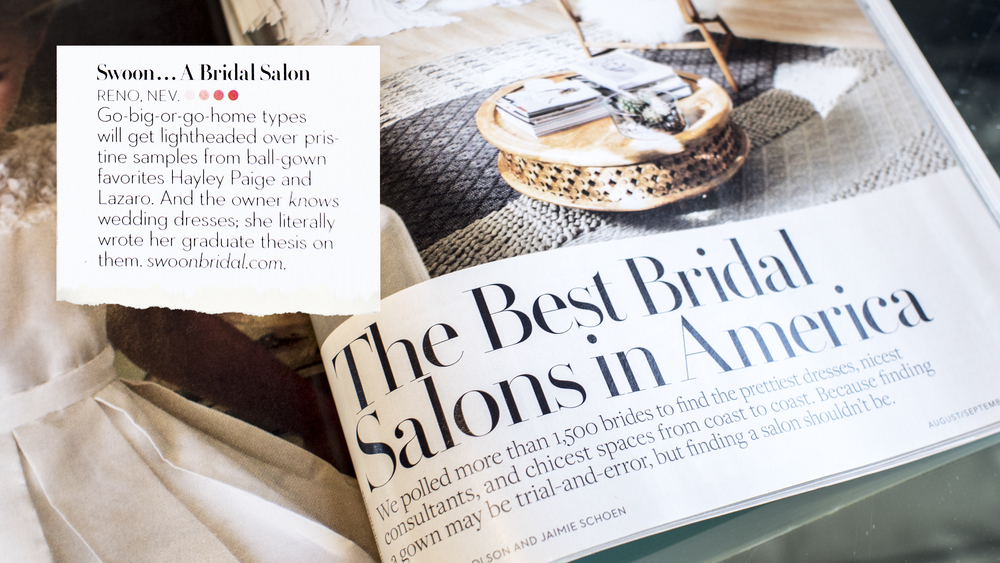 "Named one of the ""Best Bridal Salons in America"" by BRIDES Magazine's August/September 2016 issue."