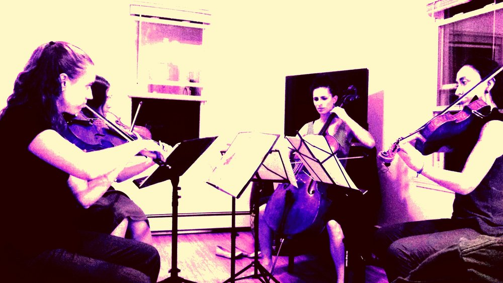 Cardamom Quartet: (counterclockwise from left to right) Lisa Goddard, violin; Rachel Panitch, violin; Ariel Friedman, cello; Eve Boltax, viola
