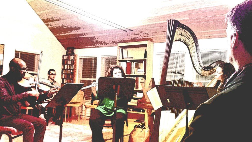 Trio Notturno (from left to right): Ken Allen (viola); Deirdre Viau (flute);  Maria Rindenello-Parker (harp).