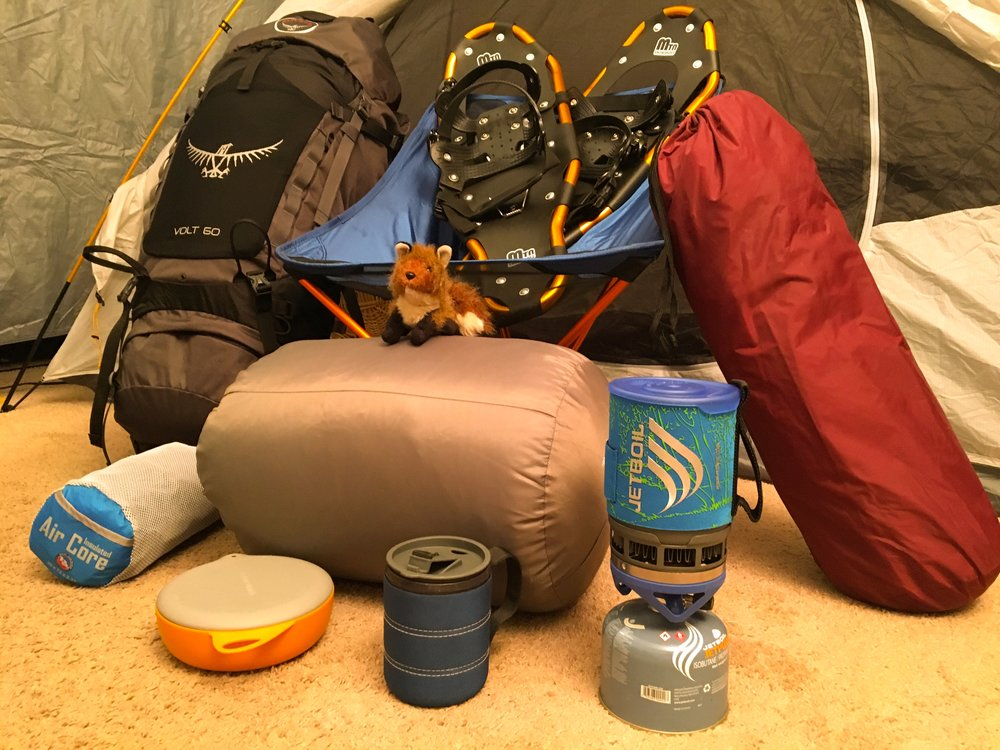 Backpacks, sleeping bags, tents, snowshoes, sleeping pads, outdoor stoves, outdoor seats, camping gear, outdoor gear, and hiking gear.