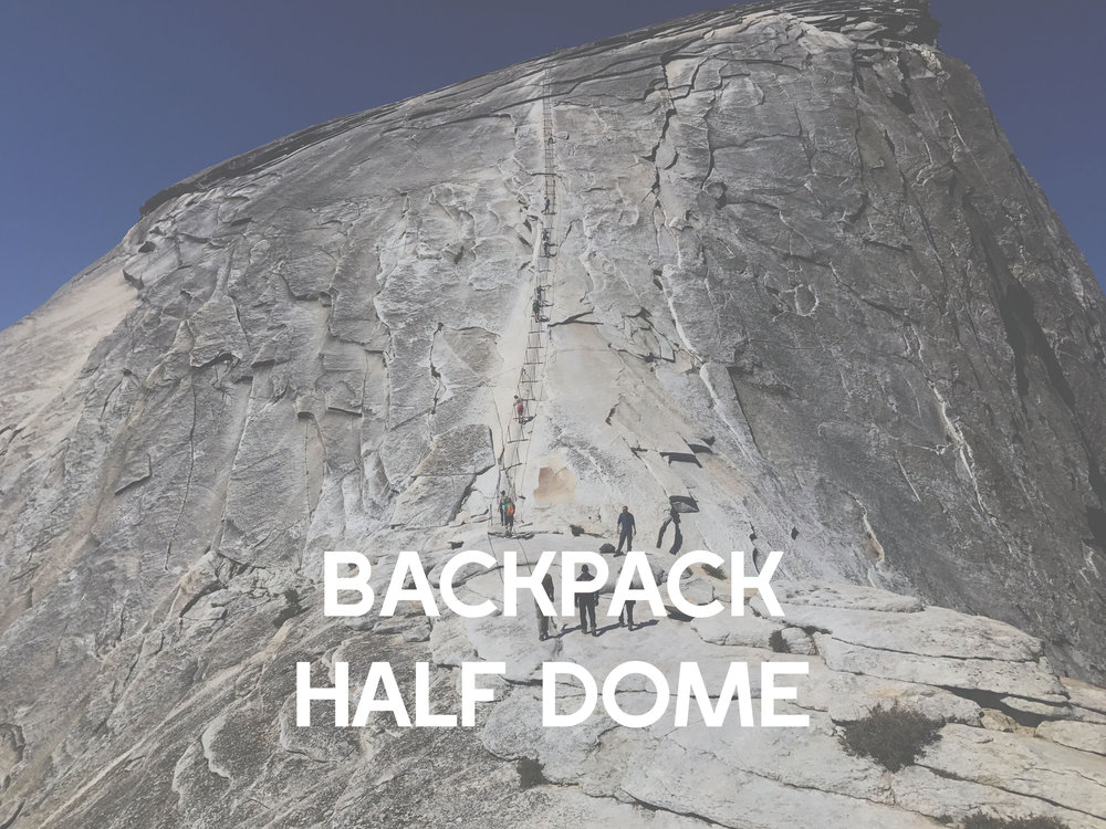 Overnight camping adventure in Yosemite national forest. Camping, hiking and backpacking adventure tours to half dome.