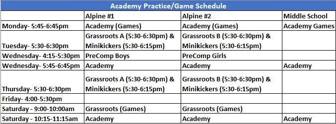 All practice times are subject to change based on participation and coaching assignments **Academy includes 7U-8U Boys and Girls and 9U-10U Boys and Girls