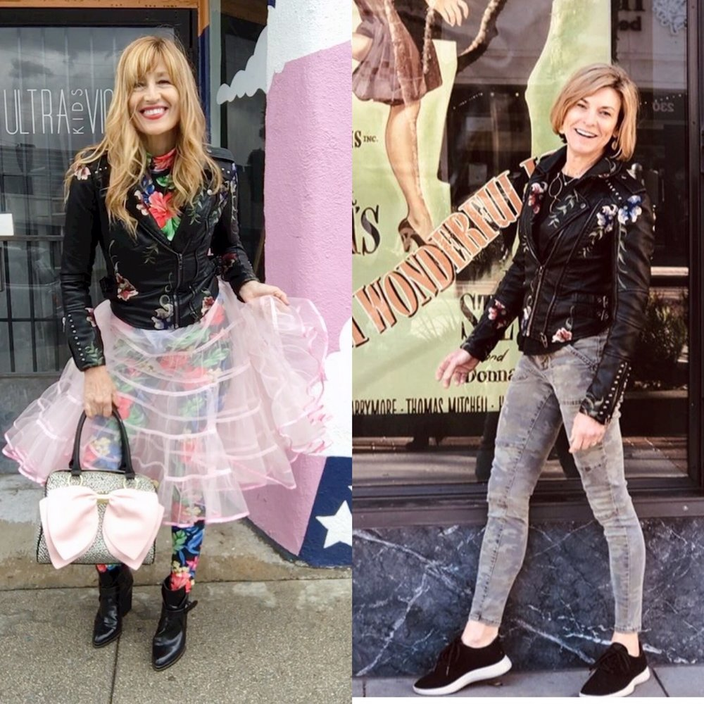 """Deb on the right, a  health professional  is the first girl who went on an outfit adventure with her super cute flowery biker jacket she got from  Shop Rebelle . Her first stop was """"It's a wonderful life."""" I took a picture before I mailed it; the  Blank NYC  jacket brought up my warrior princess."""