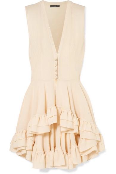 Alexander McQueen Ruffled silk-crepe top