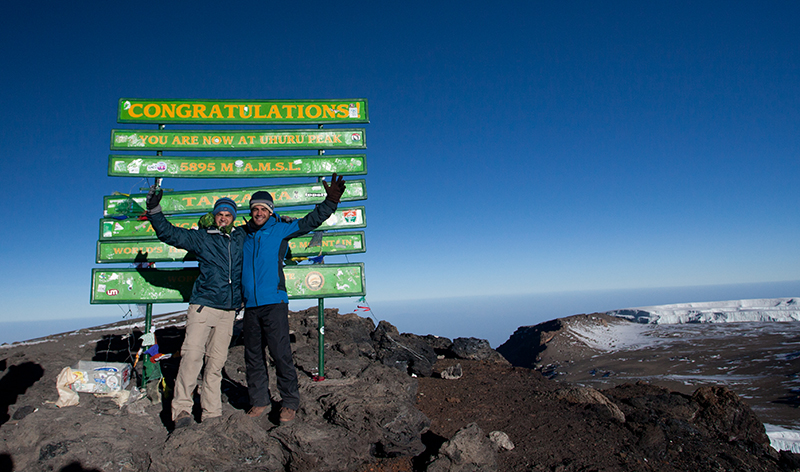 Summiting Mt. Kilimanjaro with my brother Kieran