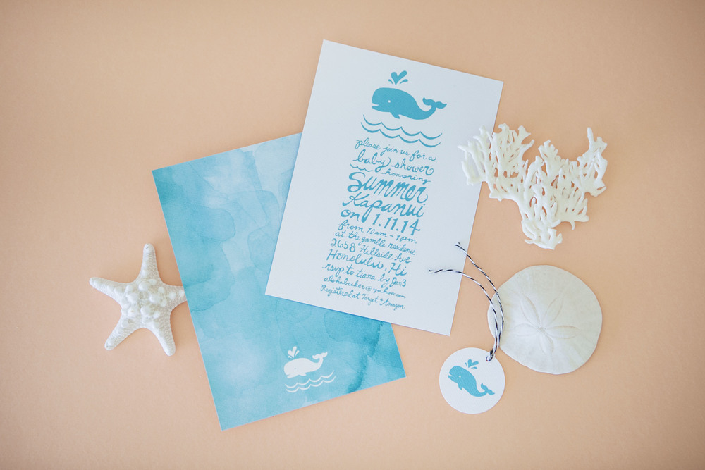 Watercolor Whale Baby Shower Invitations Orange Paper Shoppe
