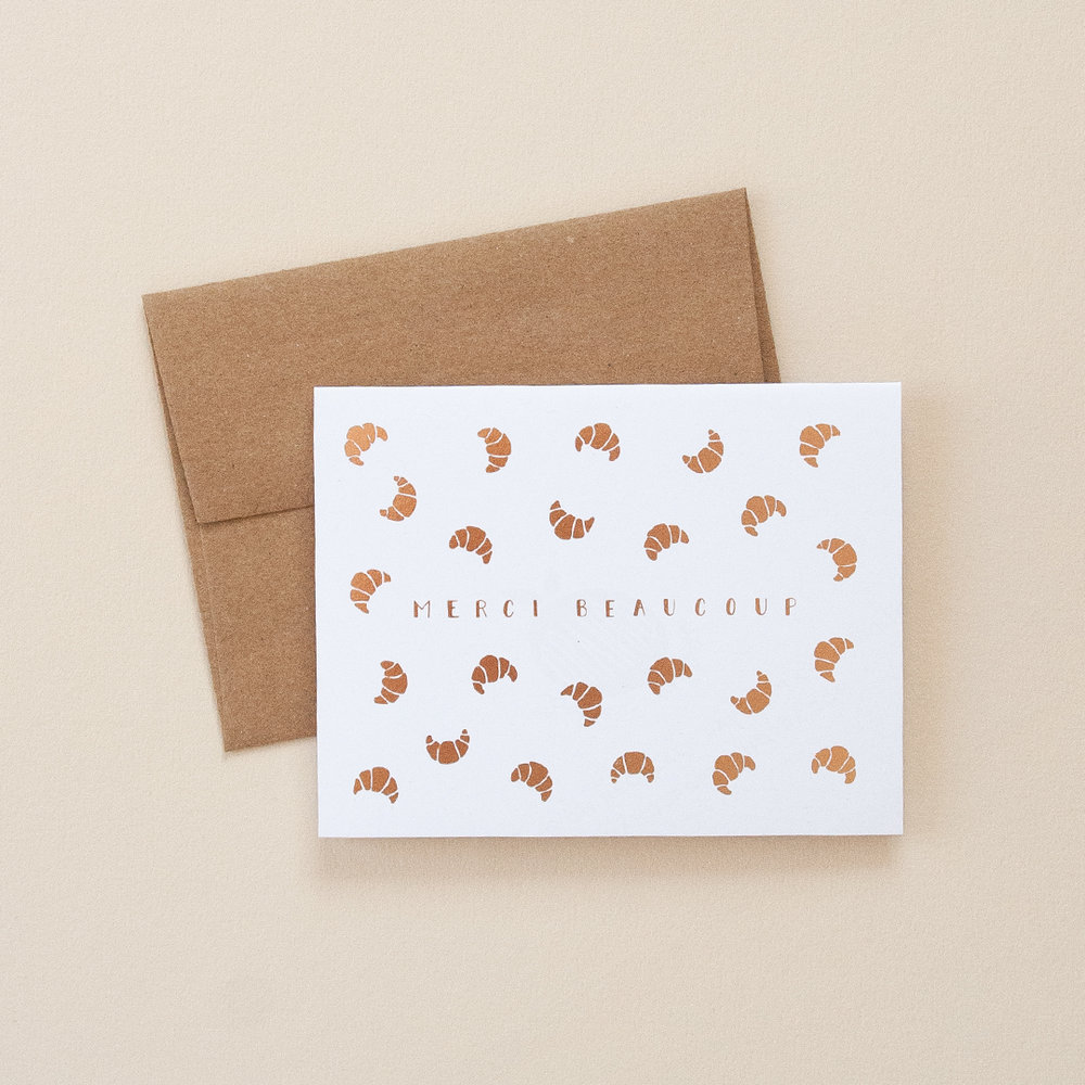 Rose Gold Foil Croissants Merci Beaucoup Greeting Card