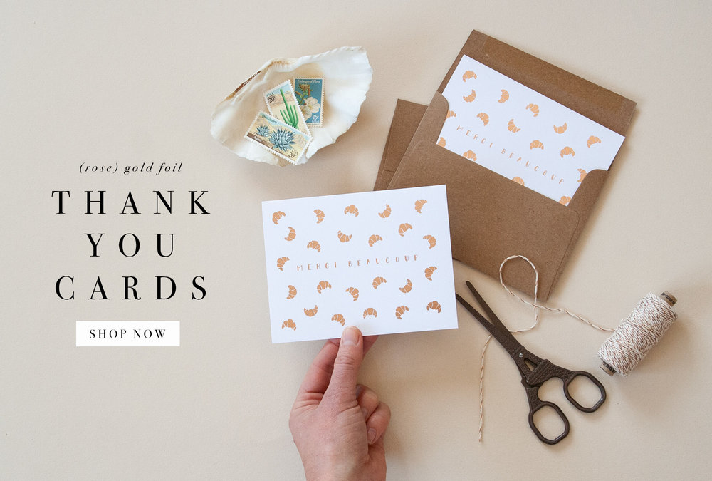 Orange Paper Shoppe Gold Foil Thank You Cards