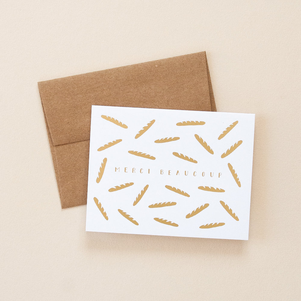 Gold Foil Baguettes Merci Beaucoup Greeting Card