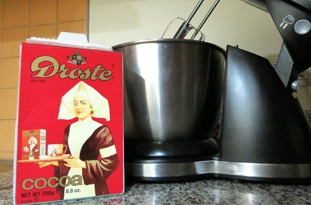 Droste cocoa powder for Dutch chocolate cake.