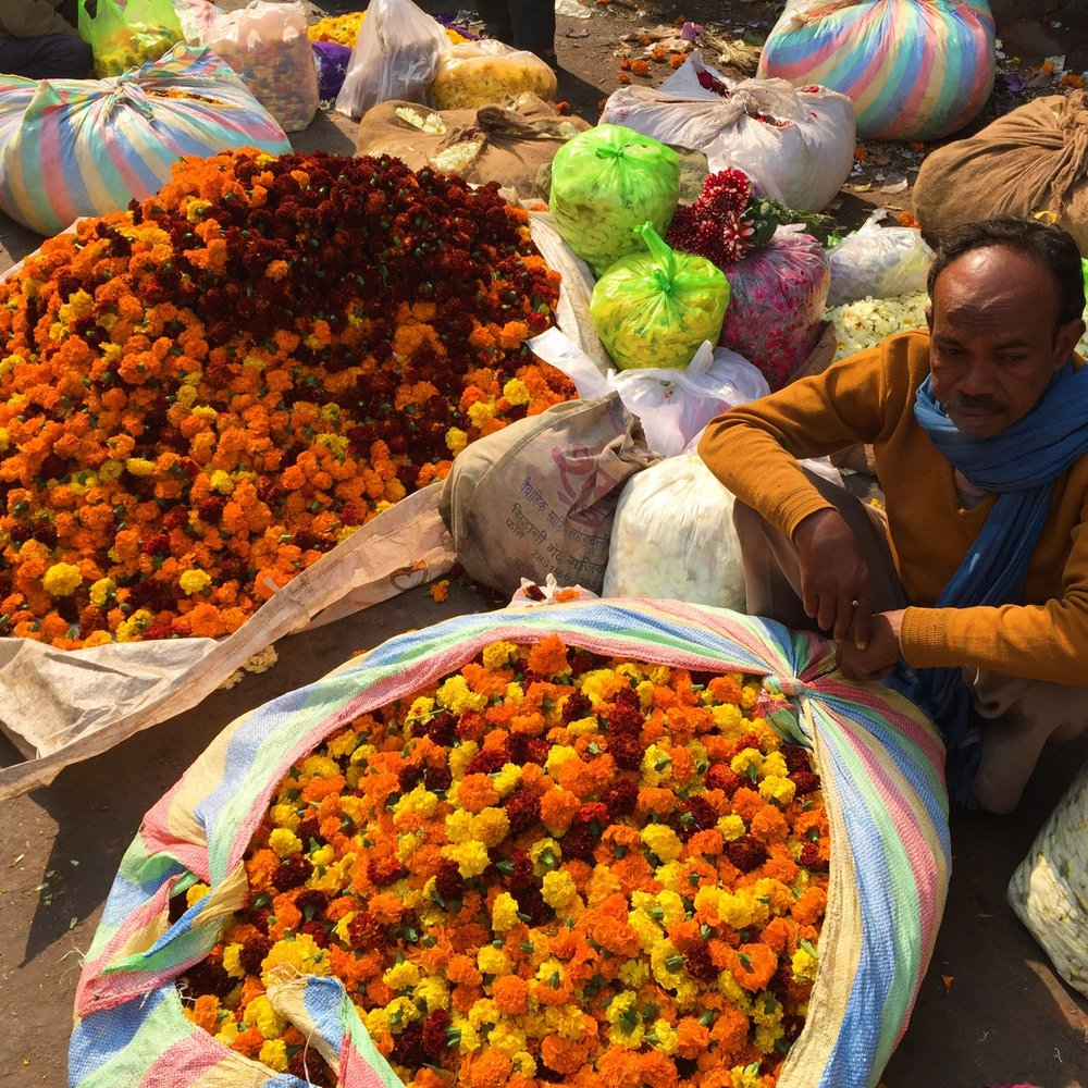 Marigold seller in Delhi's Chandni Chowk.