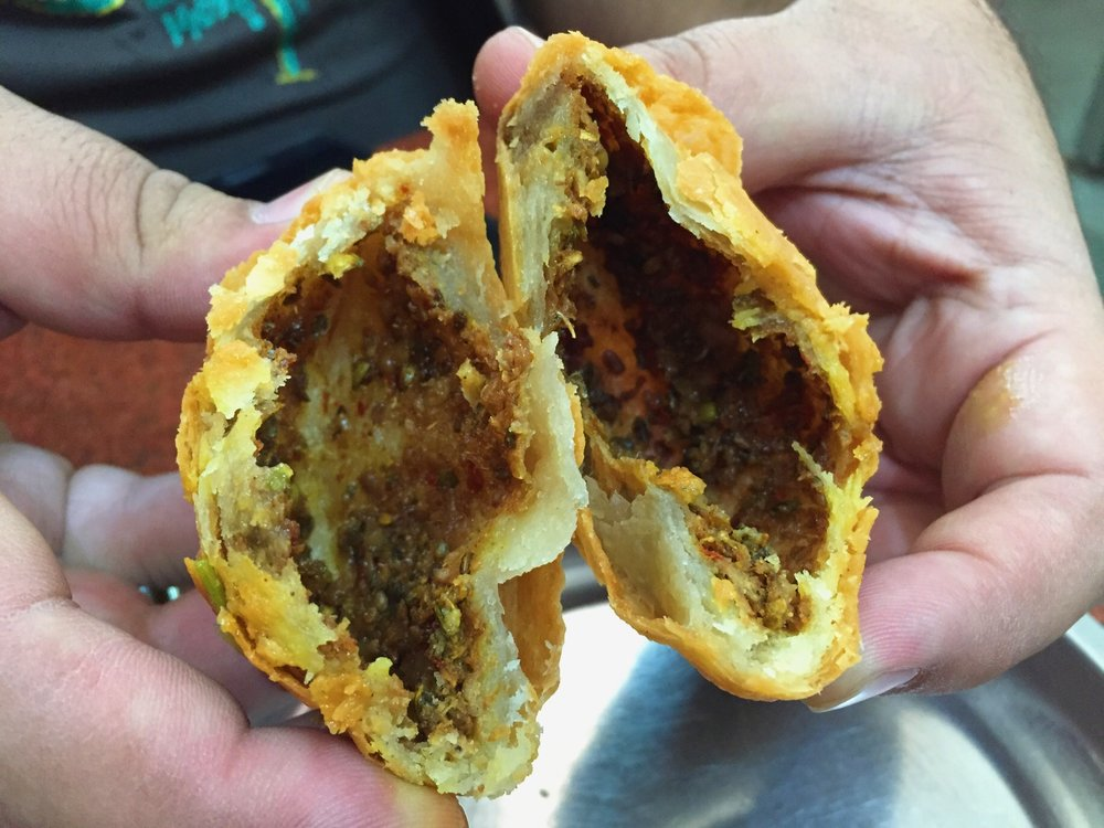 Kachori for breakfast in Delhi's Chandni Chowk market.
