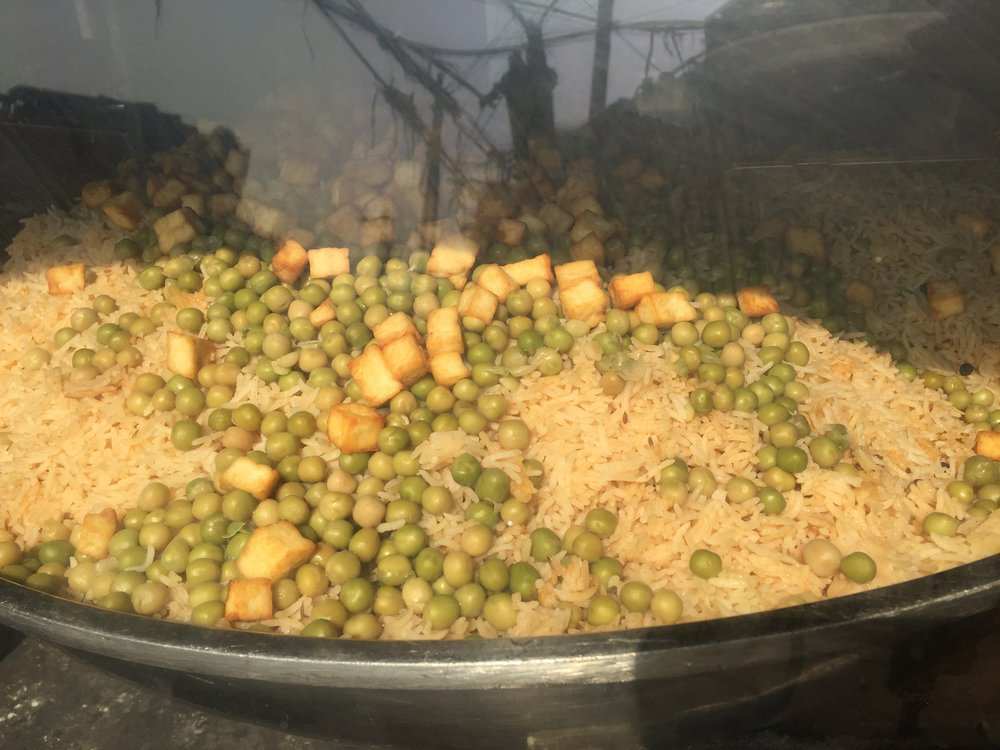 Chole chawal is a Punjabi rice dish in Delhi's Chandhi CHowk.