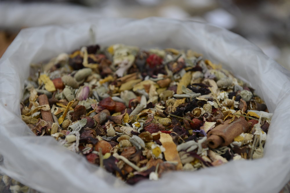 or blended into a therapeutic mix of herbs, spices, flowers and dried fruit