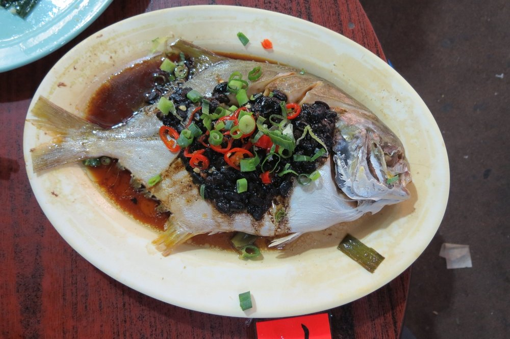 Steamed fish in black bean sauce at Hong Kong's Temple Street Night Market