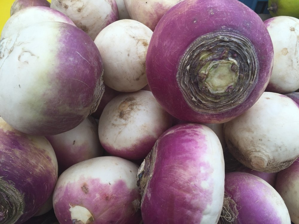 Turnips at the Albert Cuyp open air market in Amsterdam