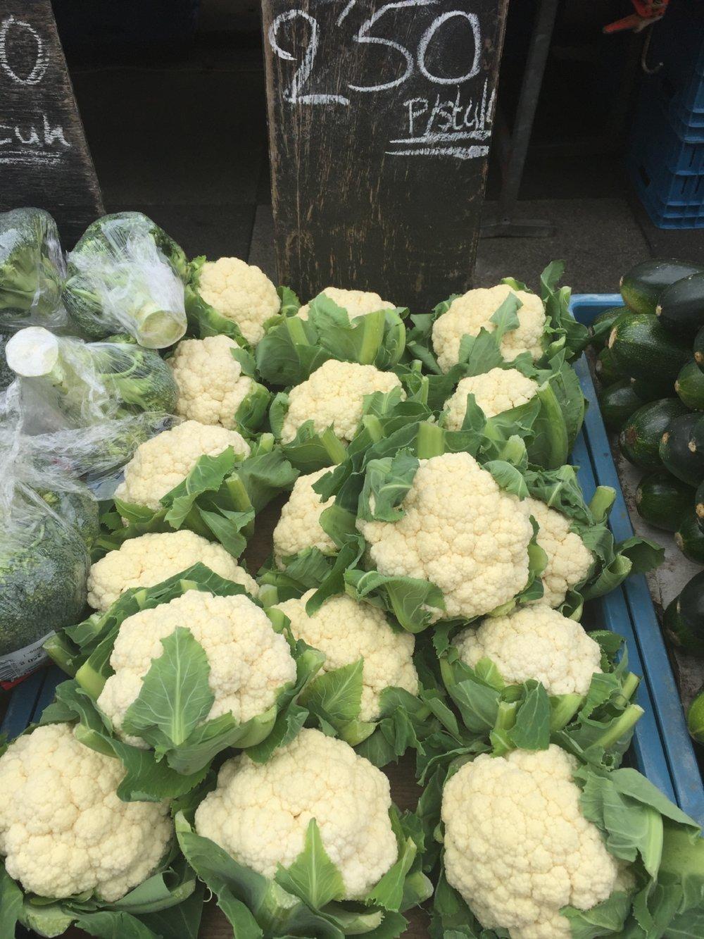 Fresh cauliflower at Albert Cuyp Market in Amsterdam