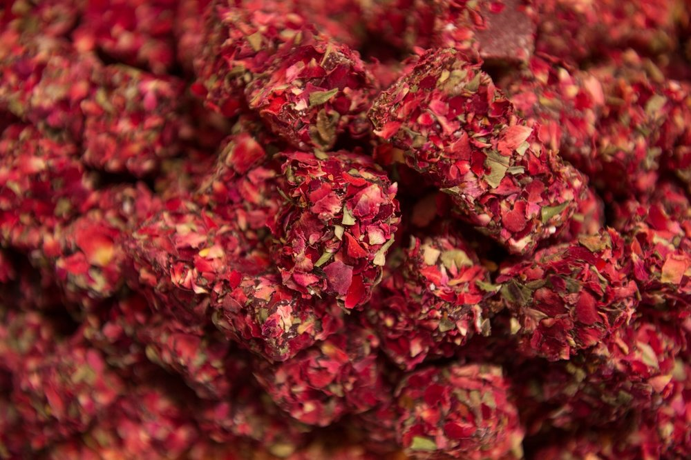 Turkish Delight, or lokum, rolled in rose petals