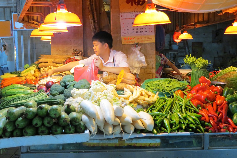 Beautiful fresh produce in Guangzhou's Enning Road Market